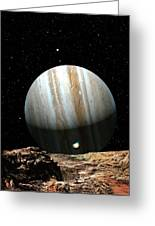 Jupiter Seen From Europa Greeting Card by Don Dixon