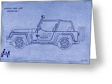 Jurassic Park Jeep Blueprint Greeting Card