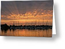 Just A Sliver Of The Sun - Sunrise God Rays At The Marina Greeting Card