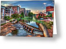 Just Before Sunset 2 Reedy River Falls Park Greenville South Carolina Art Greeting Card
