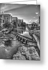 Just Before Sunset B W Reedy River Falls Park Greenville South Carolina Art Greeting Card