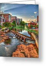 Just Before Sunset Reedy River Falls Park Greenville South Carolina Art Greeting Card