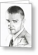 Justin Timberlake Drawing Greeting Card by Lin Petershagen