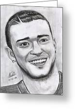 Justing Timberlake Portrait Greeting Card