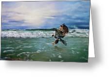 Juvenile Eagle At Sea Wildlife Art Greeting Card