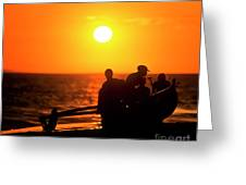 Kaanapali Beach Outrigger Sunset Greeting Card