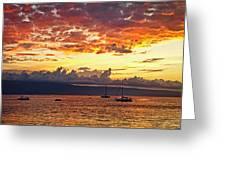 Ka'anapali Sunset Fire Greeting Card