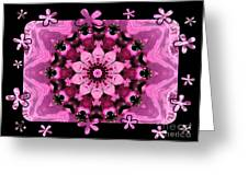 Kaleidoscope 1 With Black Flower Framing Greeting Card