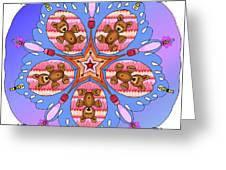 Kaleidoscope Of Bears And Bees Greeting Card