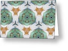 Kaleidoscope In Mint And Orange Greeting Card