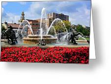 Kansas City Fountain Ablaze In Crimson Greeting Card