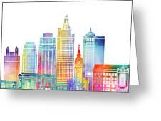 Kansas City Landmarks Watercolor Poster Greeting Card