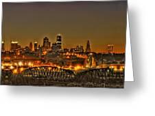Kansas City Missouri At Dusk Greeting Card by Don Wolf