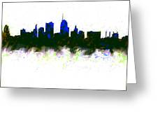 Kansas City Skyline Blue  Greeting Card