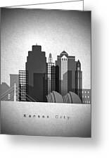 Kansas City Skyline In Black And White Greeting Card