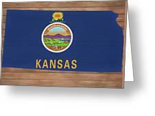 Kansas Rustic Map On Wood Greeting Card