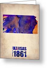 Kansas Watercolor Map Greeting Card by Naxart Studio