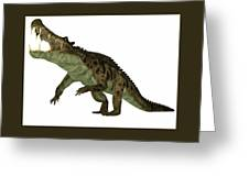 Kaprosuchus Over White Painting By Corey Ford