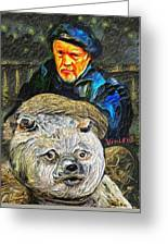 Kaptain Van Janned And His Trusty Bear Vincent Greeting Card