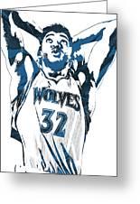 Karl Anthony Towns Minnesota Timberwolves Pixel Art Greeting Card