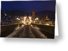 Karl Theodor Bridge With The Castle Greeting Card