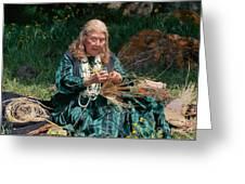 Kashia Pomo Woman Weaving Basket Greeting Card