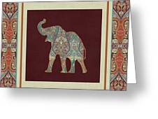 Kashmir Elephants - Vintage Style Patterned Tribal Boho Chic Art Greeting Card