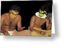 Kathakali Dancers Getting Ready Greeting Card