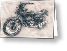 Kawasaki Triple - Kawasaki Motorcycles - 1968 - Motorcycle Poster - Automotive Art Greeting Card