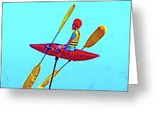 Kayak Guy On A Stick Greeting Card