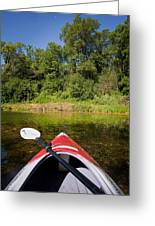 Kayak On A Forested Lake Greeting Card