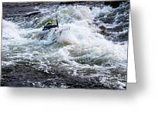 Kayak Roll Up In Pipeline Rapids 5959 Greeting Card