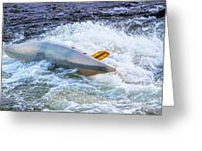 Kayaker Goes Over In Pipeline Rapids 5965ct Greeting Card