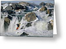 Kayaker Running Great Falls Greeting Card