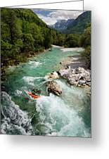 Kayaker Shooting The Cold Emerald Green Alpine Water Of The Uppe Greeting Card