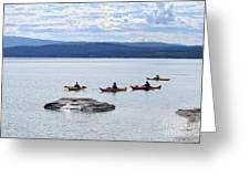 Kayakers Paddle To Fishing Cone On Yellowstone Lake Greeting Card