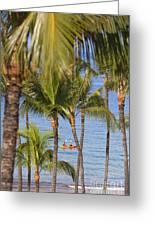 Kayakers Through Palms Greeting Card