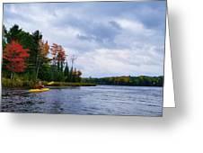 Kayaking In Autumn Greeting Card