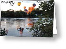 Kayaks And Balloons Greeting Card