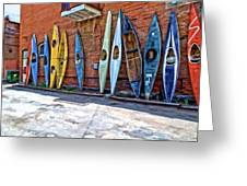 Kayaks On A Wall  Greeting Card