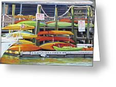 Kayaks Stacked On Shem Creek Greeting Card
