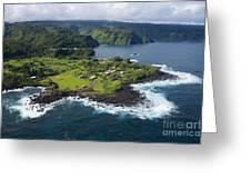 Keanae Peninsula Aerial Greeting Card