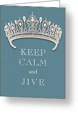 Keep Calm And Jive Diamond Tiara Turquoise Texture Greeting Card