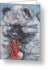 Keeshond Puppy With Christmas Stocking Greeting Card