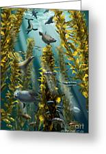 Kelp Forest With Seals Greeting Card