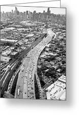 Kennedy Expressway And Chicago Skyline Greeting Card