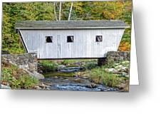 Kent Falls Bridge In Autumn Greeting Card