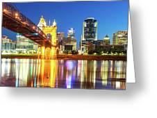 Kentucky View Of The Cincinnati Ohio Skyline - Panorama Greeting Card