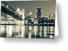 Kentucky View Of The Cincinnati Ohio Skyline - Sepia Panorama Greeting Card