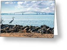 Key Bridge From Ft Smallwood Pk Greeting Card